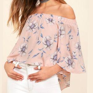 Lulu's Pink Floral Split Back Off The Shoulder Top